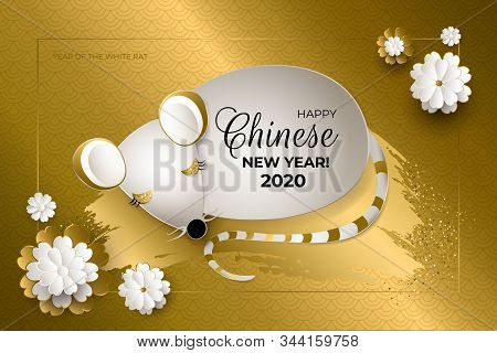 Happy Chinese New Year 2020 year of the rat. White mouse with golden brush stroke, gold glittering and white and gold flowers on gold background. Paper art style. Asian patterns. illustration. stock photo