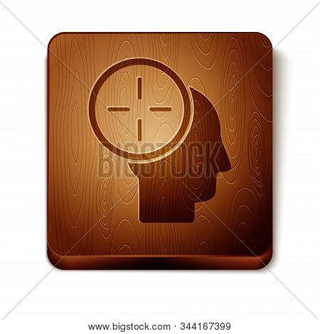Brown Head hunting concept icon isolated on white background. Business target or Employment. Human resource and recruitment for business. Wooden square button. Vector Illustration stock photo