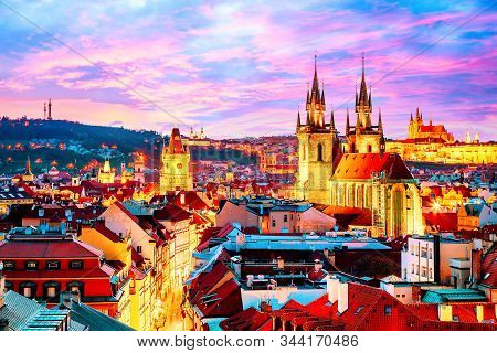 Amazing cityscape view of Prague Castle and church of our Lady Tyn, Czech Republic during sunset time. stock photo