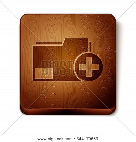 Brown Add new folder icon isolated on white background. New folder file. Copy document icon. Add attach create folder make new plus. Wooden square button. Vector Illustration stock photo