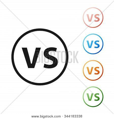 Black VS Versus battle icon isolated on white background. Competition vs match game, martial battle vs sport. Set icons colorful. Vector Illustration stock photo