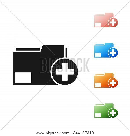 Black Add new folder icon isolated on white background. New folder file. Copy document icon. Add attach create folder make new plus. Set icons colorful. Vector Illustration stock photo