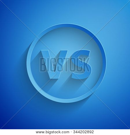 Paper cut VS Versus battle icon isolated on blue background. Competition vs match game, martial battle vs sport. Paper art style. Vector Illustration stock photo