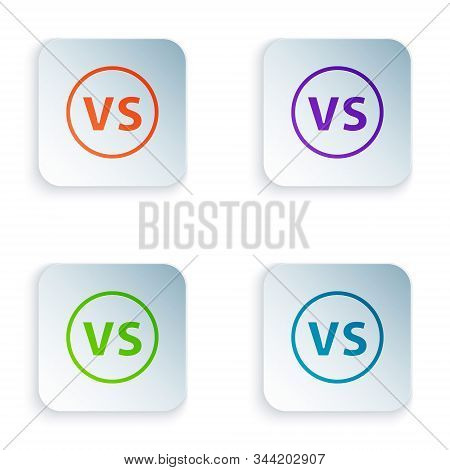Color VS Versus battle icon isolated on white background. Competition vs match game, martial battle vs sport. Set icons in square buttons. Vector Illustration stock photo