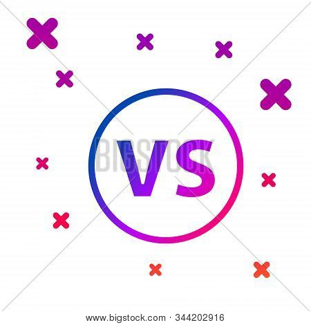 Color VS Versus battle icon isolated on white background. Competition vs match game, martial battle vs sport. Gradient random dynamic shapes. Vector Illustration stock photo