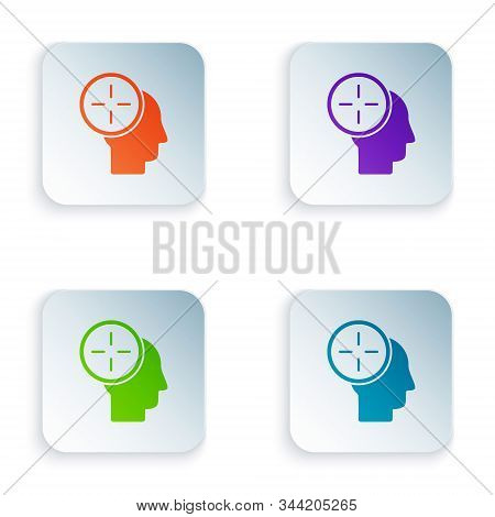Color Head hunting concept icon isolated on white background. Business target or Employment. Human resource and recruitment for business. Set icons in square buttons. Vector Illustration stock photo