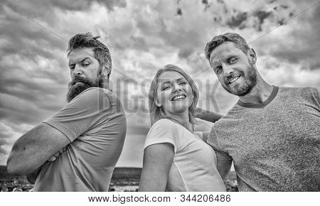 How get over breakup for guys. Ruined relationships. How deal with offended feelings. Girl stand between two men. Psychology of breakup. What do when you feel rejected. Couple and rejected partner stock photo