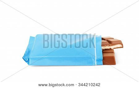 Chocolate bar on a white background Appetizing, Sweet, Meal, Dessert, Dark, Nutrition, Open, stock photo