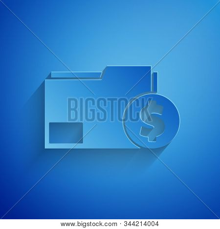 Paper cut Finance document folder icon isolated on blue background. Paper bank document with dollar coin for invoice or bill concept. Paper art style. Vector Illustration stock photo