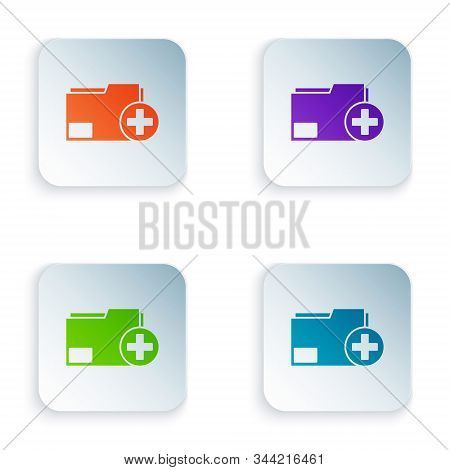 Color Add new folder icon isolated on white background. New folder file. Copy document icon. Add attach create folder make new plus. Set icons in square buttons. Vector Illustration stock photo