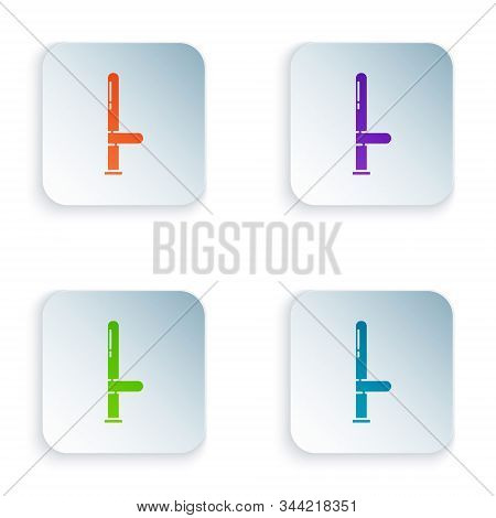 Color Police rubber baton icon isolated on white background. Rubber truncheon. Police Bat. Police equipment. Set icons in square buttons. Vector Illustration stock photo