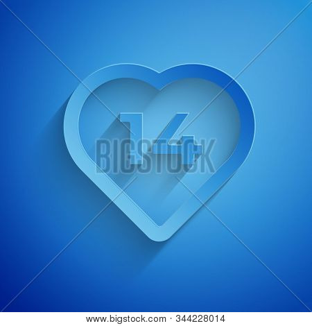 Paper cut Heart icon isolated on blue background. Romantic symbol linked, join, passion and wedding. Valentine day. February 14. Paper art style. Vector Illustration stock photo