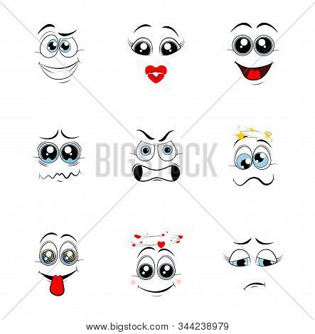 Cartoon eyes. Comic eye staring gaze watch, funny face parts facing smile cute, angry and joyful emotions. Vector illustration stock photo