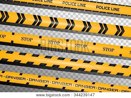 Caution lines isolated. Warning tapes. Danger signs. Vector illustration. stock photo