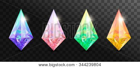 Set of  jewelry gems, stone for game. Vector illustration stock photo