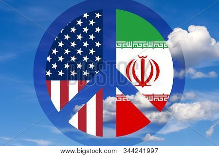 Flags of the USA and Iran inside the anti-war symbol of pacifism against a blue peaceful sky. Concept: peace and friendship between the USA and Iran. Illustration. stock photo