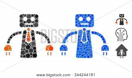 Boss robot mosaic of filled circles in various sizes and color tints, based on boss robot icon. Vector small circles are organized into blue mosaic. Dotted boss robot icon in usual and blue versions. stock photo
