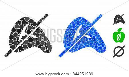 No meat composition of round dots in various sizes and color tinges, based on no meat icon. Vector round dots are grouped into blue composition. Dotted no meat icon in usual and blue versions. stock photo