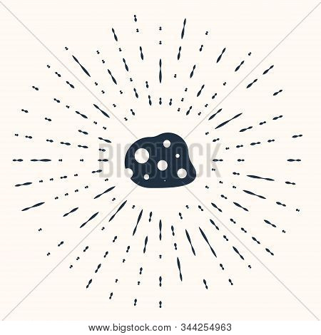 Grey Asteroid icon isolated on beige background. Abstract circle random dots. Vector Illustration stock photo