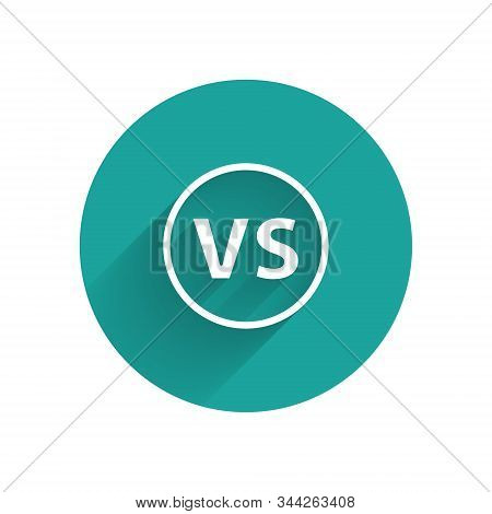 White VS Versus battle icon isolated with long shadow. Competition vs match game, martial battle vs sport. Green circle button. Vector Illustration stock photo
