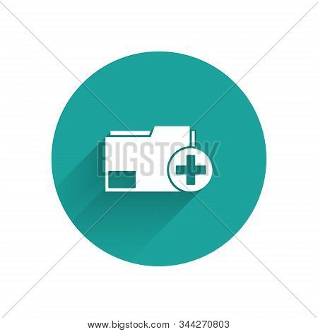 White Add new folder icon isolated with long shadow. New folder file. Copy document icon. Add attach create folder make new plus. Green circle button. Vector Illustration stock photo