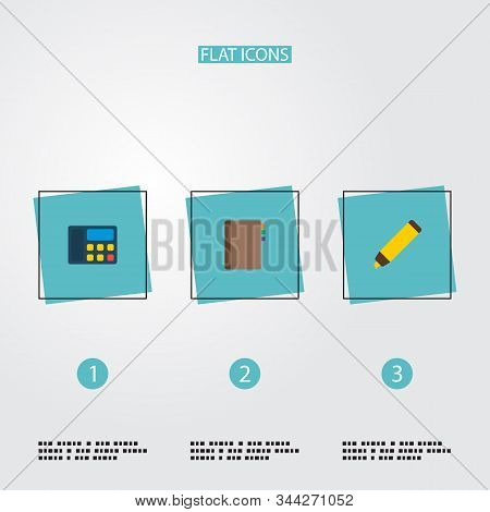Set of workspace icons flat style symbols with marker, telephone, address book and other icons for your web mobile app logo design. stock photo