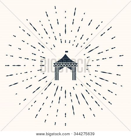 Grey Camping tent icon isolated on beige background. Carnival camping tent. Amusement park. Abstract circle random dots. Vector Illustration stock photo