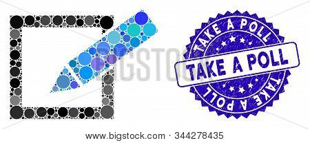 Mosaic take a poll icon and rubber stamp watermark with Take a Poll caption. Mosaic vector is formed with take a poll icon and with randomized round items. Take a Poll stamp uses blue color, stock photo