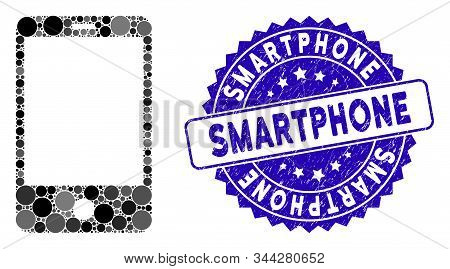 Mosaic smartphone icon and grunge stamp seal with Smartphone phrase. Mosaic vector is created from smartphone icon and with randomized spheric elements. Smartphone stamp seal uses blue color, stock photo