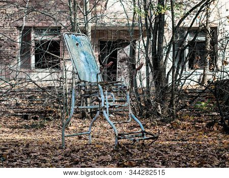 famous dangerous place hospital in an abandoned infected city of Chernobyl Ukraine stock photo