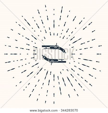 Grey Vintage pistols icon isolated on beige background. Ancient weapon. Abstract circle random dots. Vector Illustration stock photo