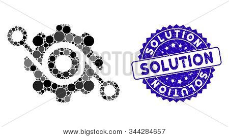 Mosaic gear solution icon and corroded stamp seal with Solution phrase. Mosaic vector is created with gear solution icon and with randomized circle elements. Solution stamp seal uses blue color, stock photo