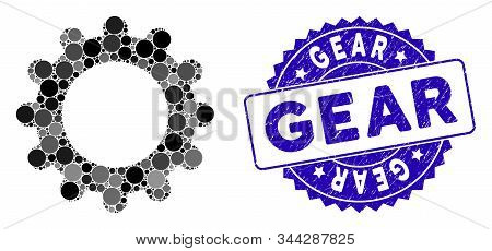 Mosaic gear icon and grunge stamp watermark with Gear caption. Mosaic vector is designed with gear icon and with scattered circle spots. Gear stamp seal uses blue color, and grunged design. stock photo