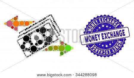 Mosaic money exchange icon and distressed stamp seal with Money Exchange phrase. Mosaic vector is composed with money exchange icon and with scattered circle spots. stock photo