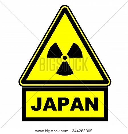 Radioactive hazard in Japan. Warning sign. A warning yellow sign of radioactive hazard with the black word JAPAN. Isolated. 3D illustration stock photo