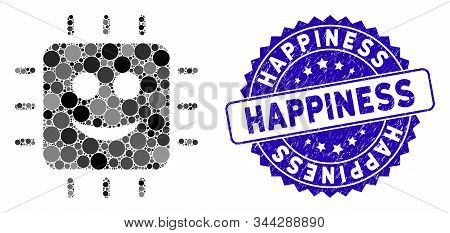 Mosaic happy CPU icon and grunge stamp seal with Happiness phrase. Mosaic vector is created from happy CPU icon and with scattered round spots. Happiness stamp uses blue color, and grunge texture. stock photo