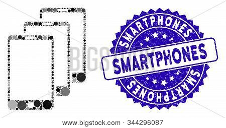 Mosaic smartphones icon and rubber stamp watermark with Smartphones caption. Mosaic vector is designed with smartphones icon and with random circle spots. Smartphones stamp uses blue color, stock photo