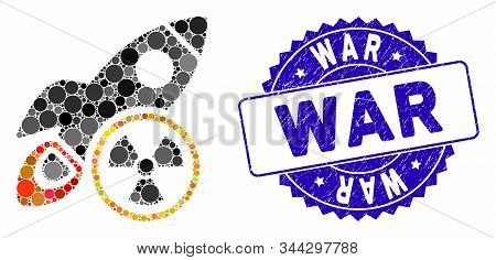 Mosaic atomic rocket science icon and corroded stamp seal with War text. Mosaic vector is created with atomic rocket science pictogram and with scattered circle items. War stamp seal uses blue color, stock photo