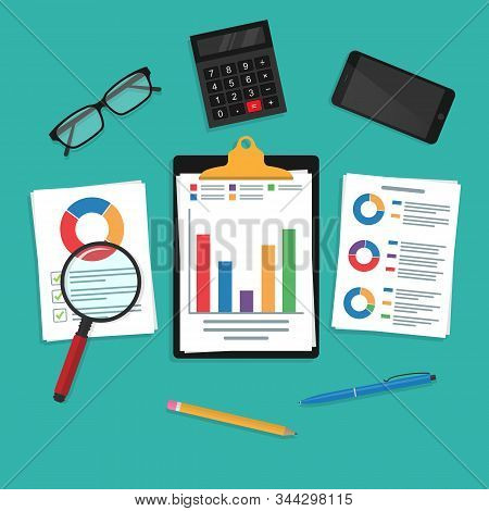 Audit research vector icon, analysis of financial report data on paper, accounting analytics concept with charts and diagrams, checking expenses and income at workplace. Work desk.10 eps. stock photo