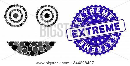 Collage mad smiley icon and rubber stamp seal with Extreme phrase. Mosaic vector is designed with mad smiley icon and with scattered round items. Extreme stamp seal uses blue color, stock photo