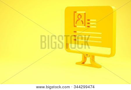 Yellow Computer monitor with resume icon isolated on yellow background. CV application. Searching professional staff. Analyzing personnel resume. Minimalism concept. 3d illustration 3D render stock photo