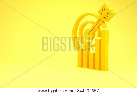 Yellow Target with graph chart icon isolated on yellow background. Report text file icon. Accounting sign. Audit, analysis, planning. Minimalism concept. 3d illustration 3D render stock photo