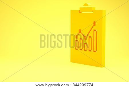 Yellow Clipboard with graph chart icon isolated on yellow background. Report text file icon. Accounting sign. Audit, analysis, planning. Minimalism concept. 3d illustration 3D render stock photo