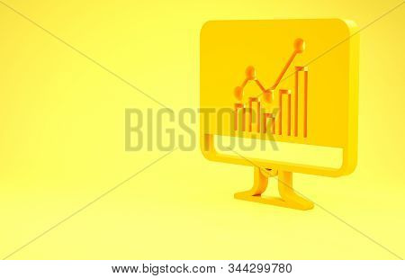 Yellow Computer monitor with graph chart icon isolated on yellow background. Report text file icon. Accounting sign. Audit, analysis, planning. Minimalism concept. 3d illustration 3D render stock photo