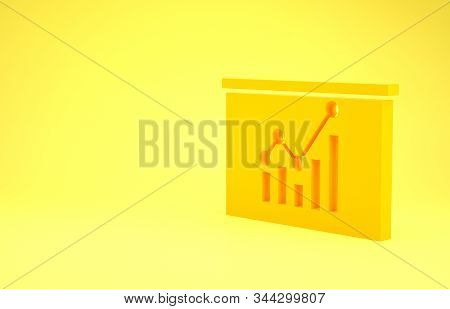 Yellow Board with graph chart icon isolated on yellow background. Report text file icon. Accounting sign. Audit, analysis, planning. Minimalism concept. 3d illustration 3D render stock photo