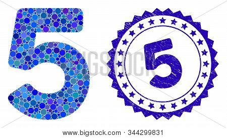 Collage 5 digit icon and grunge stamp watermark with 5 text. Mosaic vector is formed with 5 digit icon and with random circle elements. 5 stamp seal uses blue color, and scratched surface. stock photo