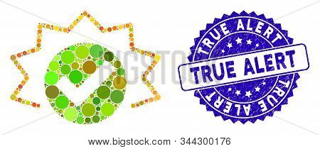 Collage true alert icon and grunge stamp seal with True Alert caption. Mosaic vector is designed with true alert icon and with randomized spheric elements. True Alert seal uses blue color, stock photo