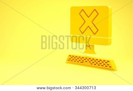 Yellow Computer with keyboard and x mark icon isolated on yellow background. Error window, exit button, cancel, 404 error page not found concept. Minimalism concept. 3d illustration 3D render stock photo