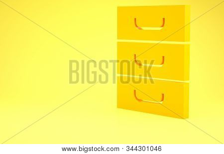 Yellow Drawer with documents icon isolated on yellow background. Archive papers drawer. File Cabinet Drawer. Office furniture. Minimalism concept. 3d illustration 3D render stock photo
