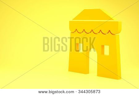 Yellow Circus tent icon isolated on yellow background. Carnival camping tent. Amusement park. Minimalism concept. 3d illustration 3D render stock photo